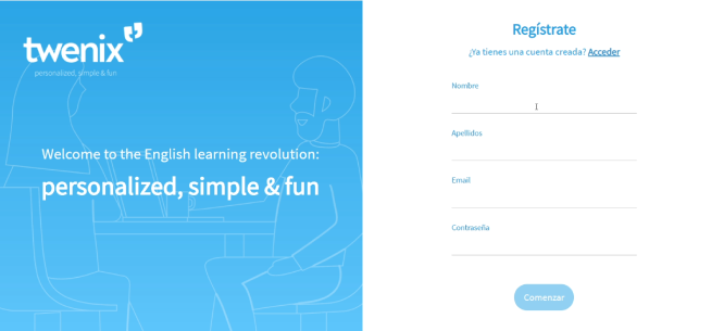 registro plataforma de inglés para empresas Twenix